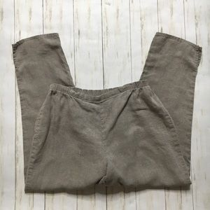 Flax Stone Brown 100% Linen Tapered Leg Pants